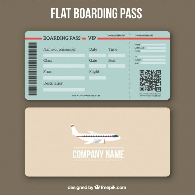 Boarding pass template with qr code in flat design Vector | Free ...