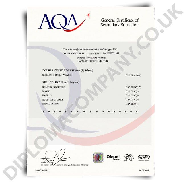 Fake GCSE Certificate | DiplomaCompany.co.uk