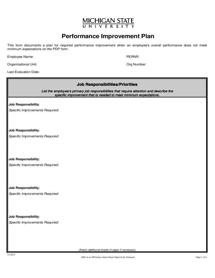 Performance Improvement Plan Form - Michigan Free Download