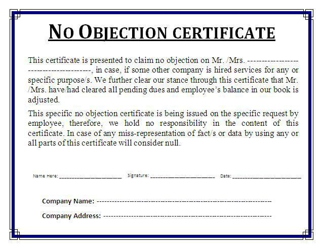 No Objection Certificate Template | Free Business Templates