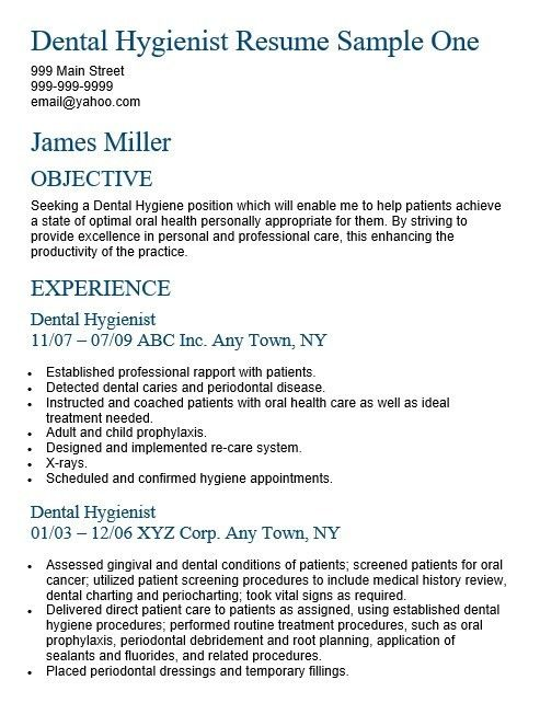 16 Free Sample Dental Hygienist Resume – Sample Resumes 2016