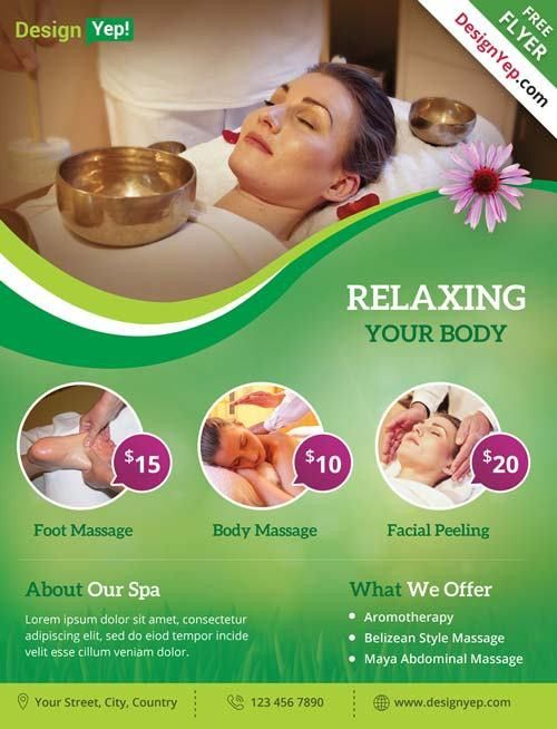 Download Free Wellness Spa Flyer PSD Templates for Photoshop