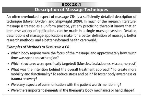 Massage Therapy: Create an effective case report