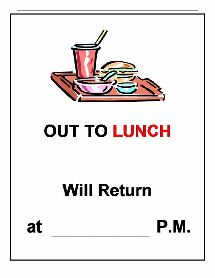 Out To Lunch Sign Template | Life of a School Counselor ...