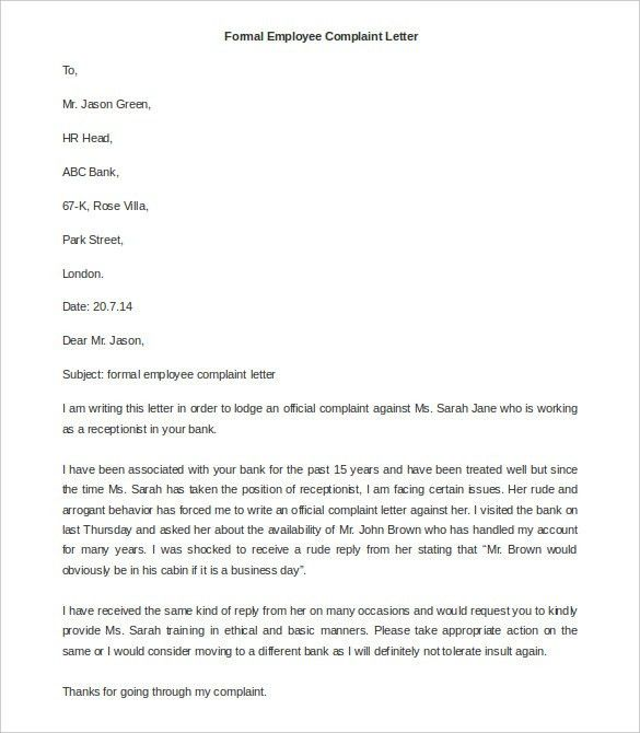 Free Complaint Letter Template – 20+ Free Word, PDF Documents ...