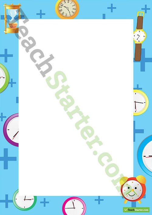 Time and Clocks Page Border - Word Template Teaching Resource ...