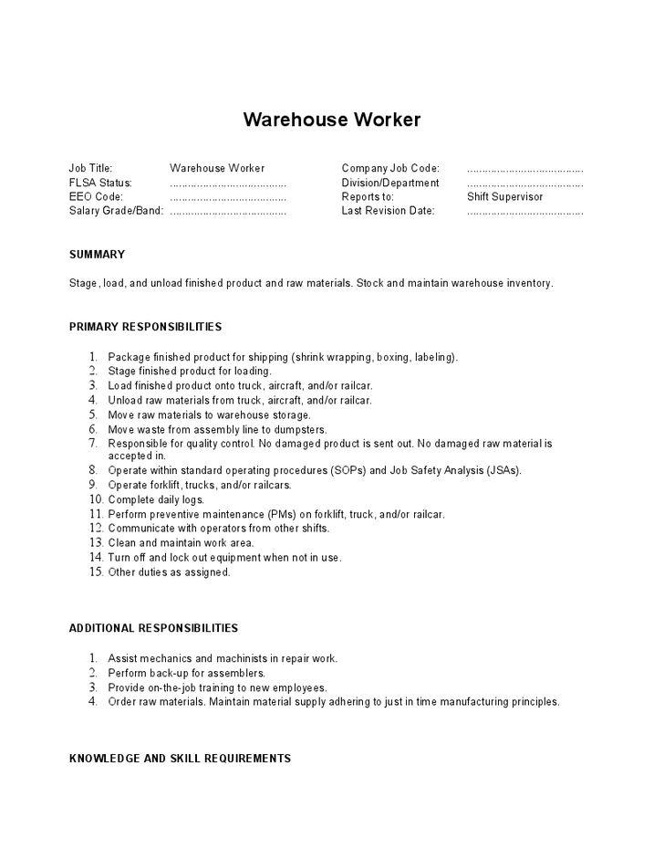 2016 Warehouse Job Description - SampleBusinessResume.com ...