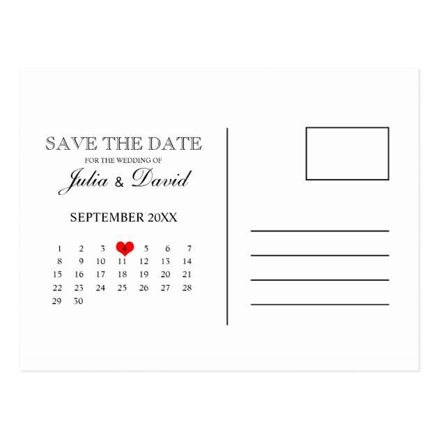 Calendar Save The Date Postcard Template | Zazzle.com