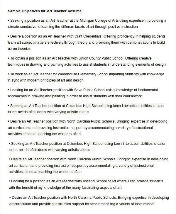 art teacher resume objective resume objective for teaching ...