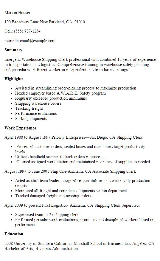 Professional Warehouse Shipping Clerk Resume Example Templates to ...