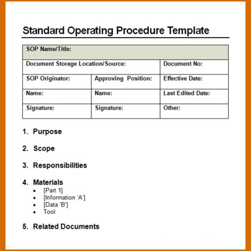 14+ standard operating procedures templates | Authorizationletters.org