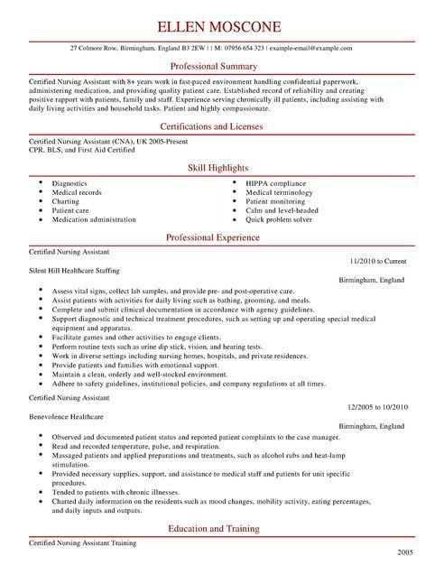 Certified Nursing Assistant CV Example for Healthcare | LiveCareer