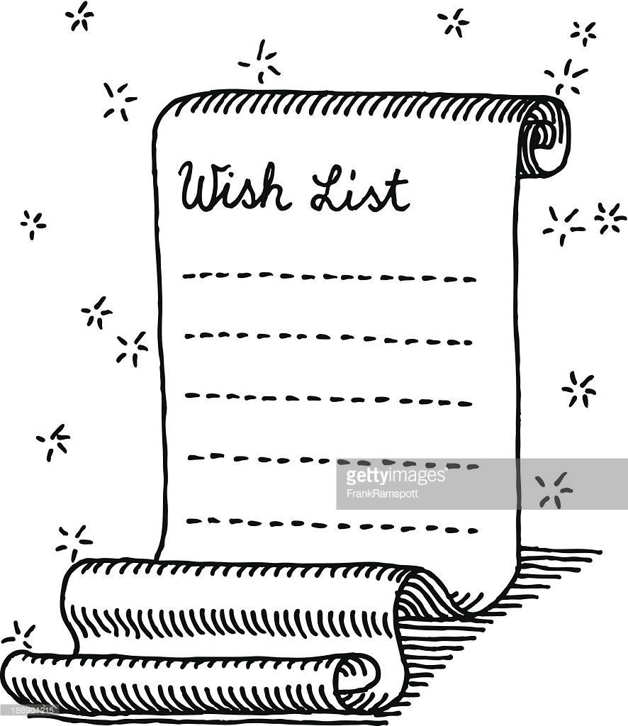 Christmas Wish List Curly Paper Drawing Vector Art | Getty Images