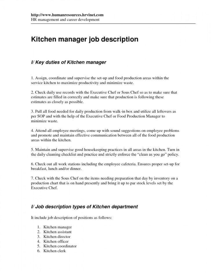 kitchen assistant job description