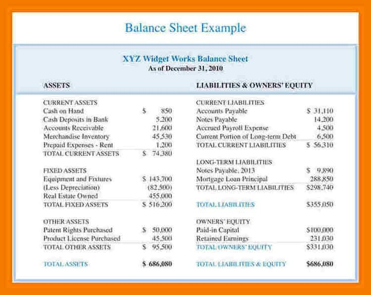 9+ balance sheet template for small business | mailroom clerk