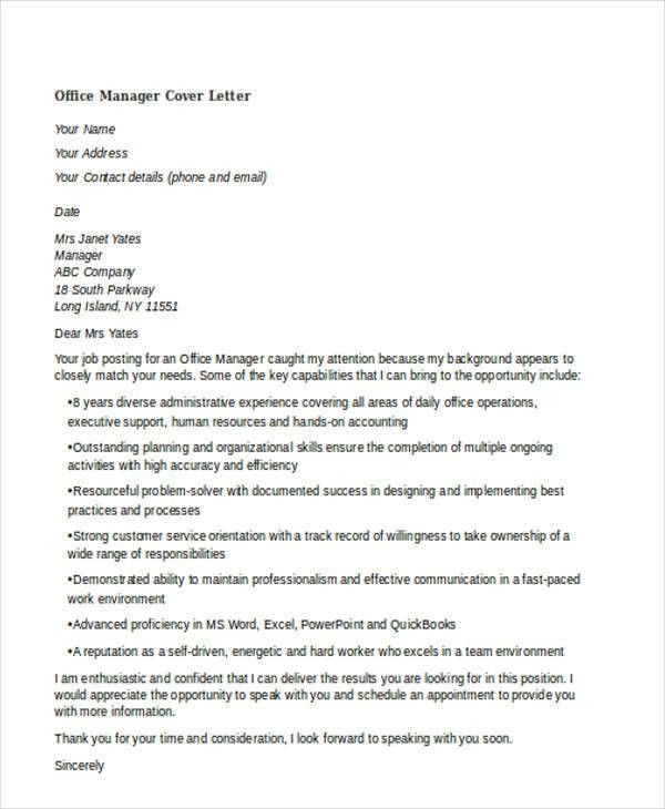 Doc.#500647: Office Manager Cover Letters – Office manager cover ...
