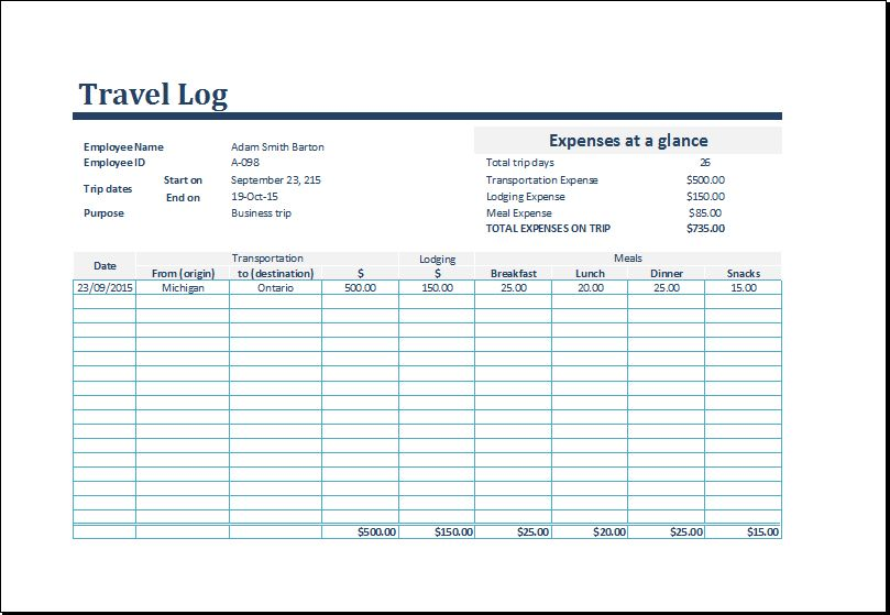 Customizable Travel Log Template for Excel | Formal Word Templates