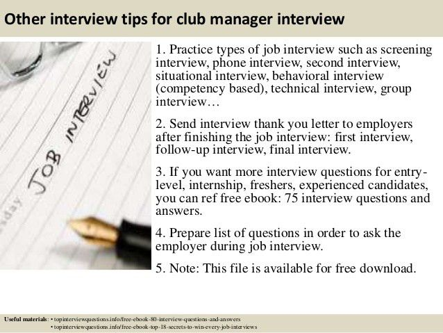 Top 10 club manager interview questions and answers