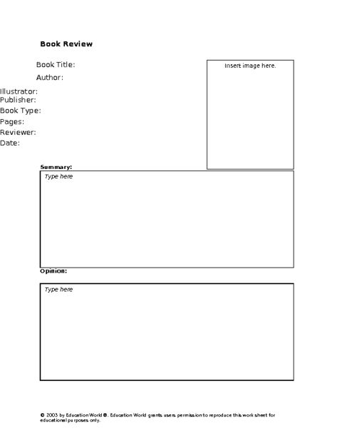 Education World: Secondary Book Review Template