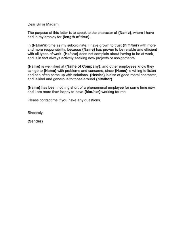 Character Reference Letter From Employer | The Letter Sample