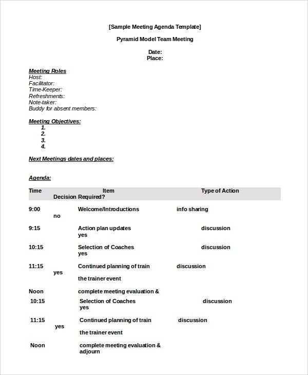 Meeting Agenda Sample - 10+ Examples in PDF, Word