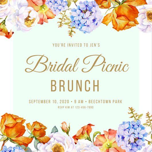 Gold Floral Border Elegant Feminine Picnic Invitation - Templates ...