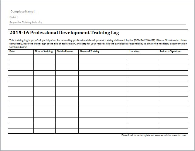 Training Log Template | Document Templates