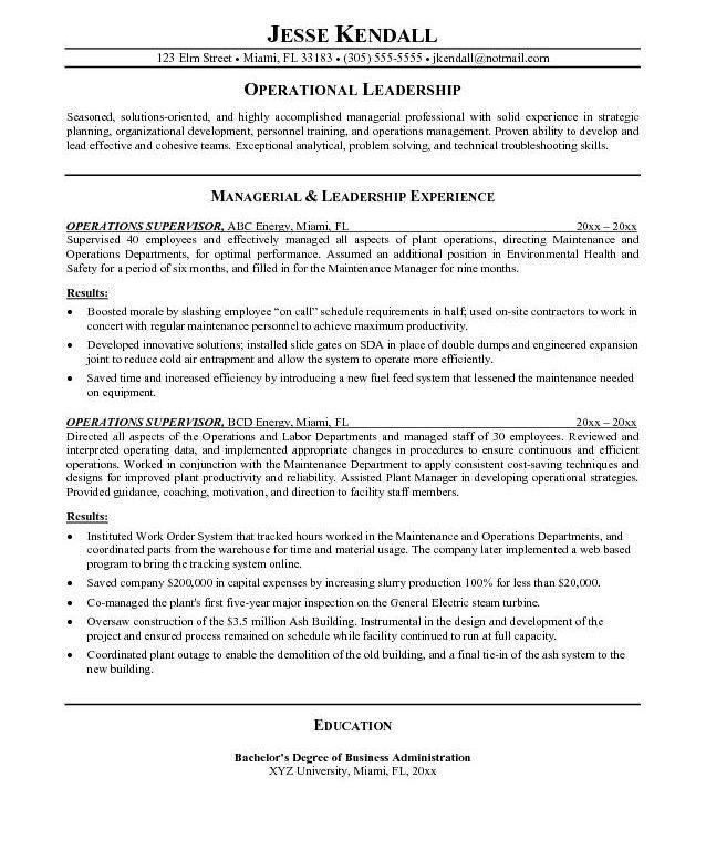 Supervisor Resume Templates - Resume CV Cover Letter