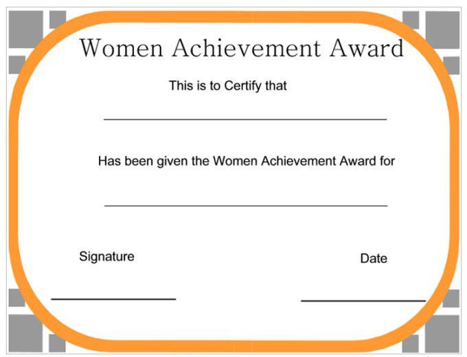 Simple Women Certificate Of Achievement Template Word Sample ...