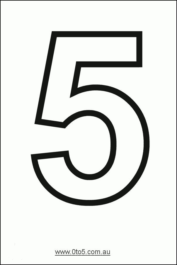 Number - five printable template   NÚMERO 5 GRAFÍA Y CANTIDAD ETC ...