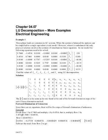 LU Decomposition-More Examples: Civil Engineering