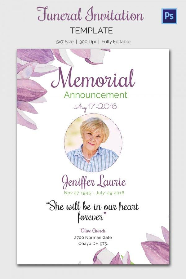 Amazing Memorial Service Invitation Cards 26 On Funeral Invitation ...