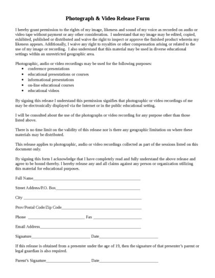 Photo Release Form | LegalForms.org