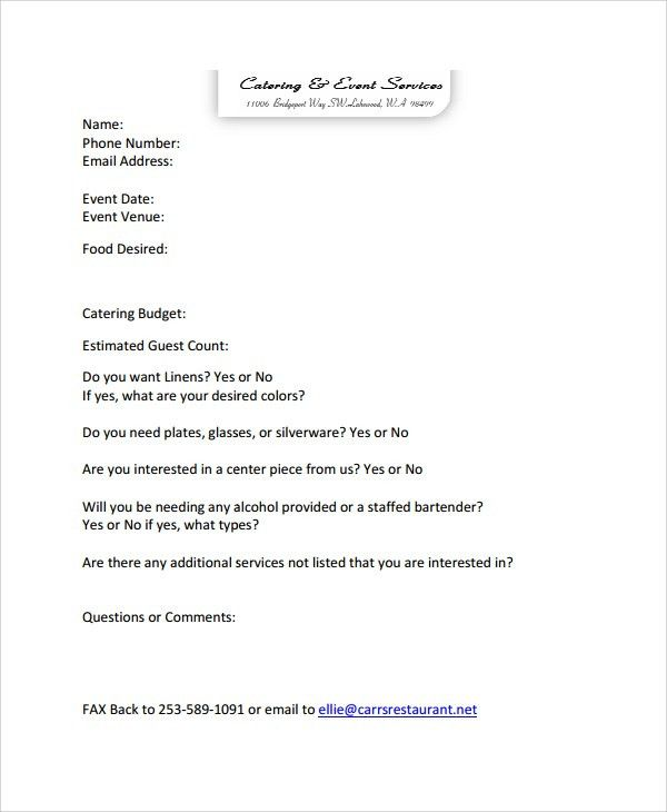 High Quality Sample Catering Quote   6+ Documents In PDF, Word