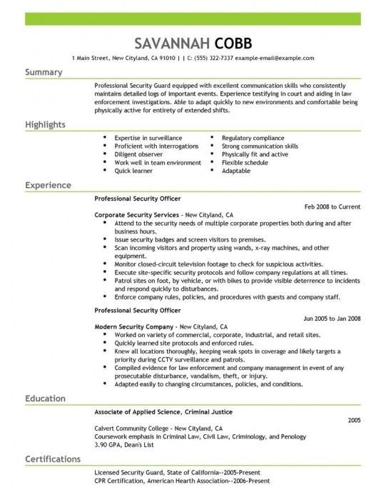 professional security officer advice. security guard resume march ...