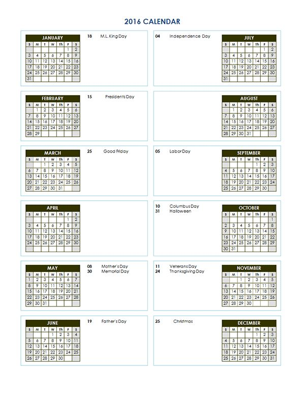 2016 Two Year Calendar - Free Printable Templates