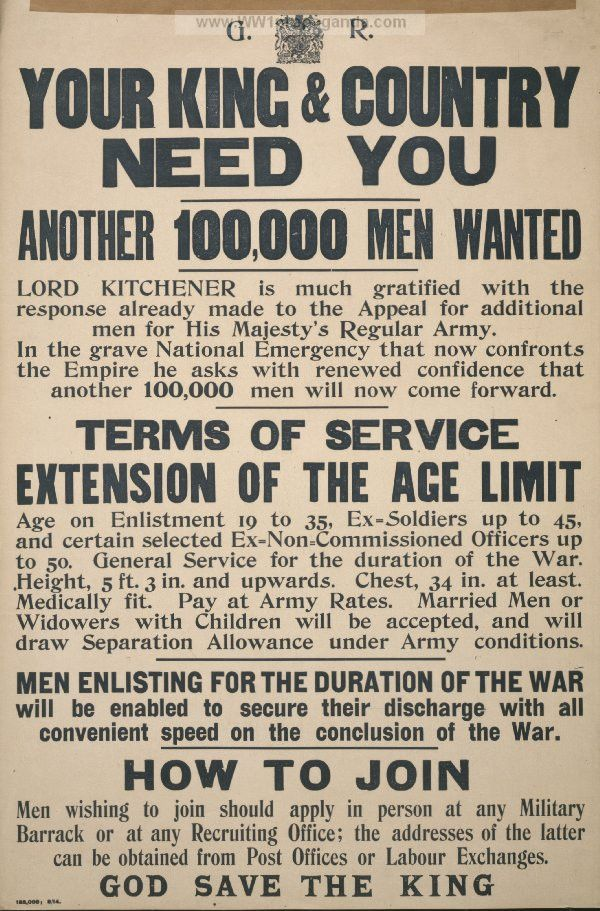 Examples of Propaganda from WW1 | Your king & country need you ...