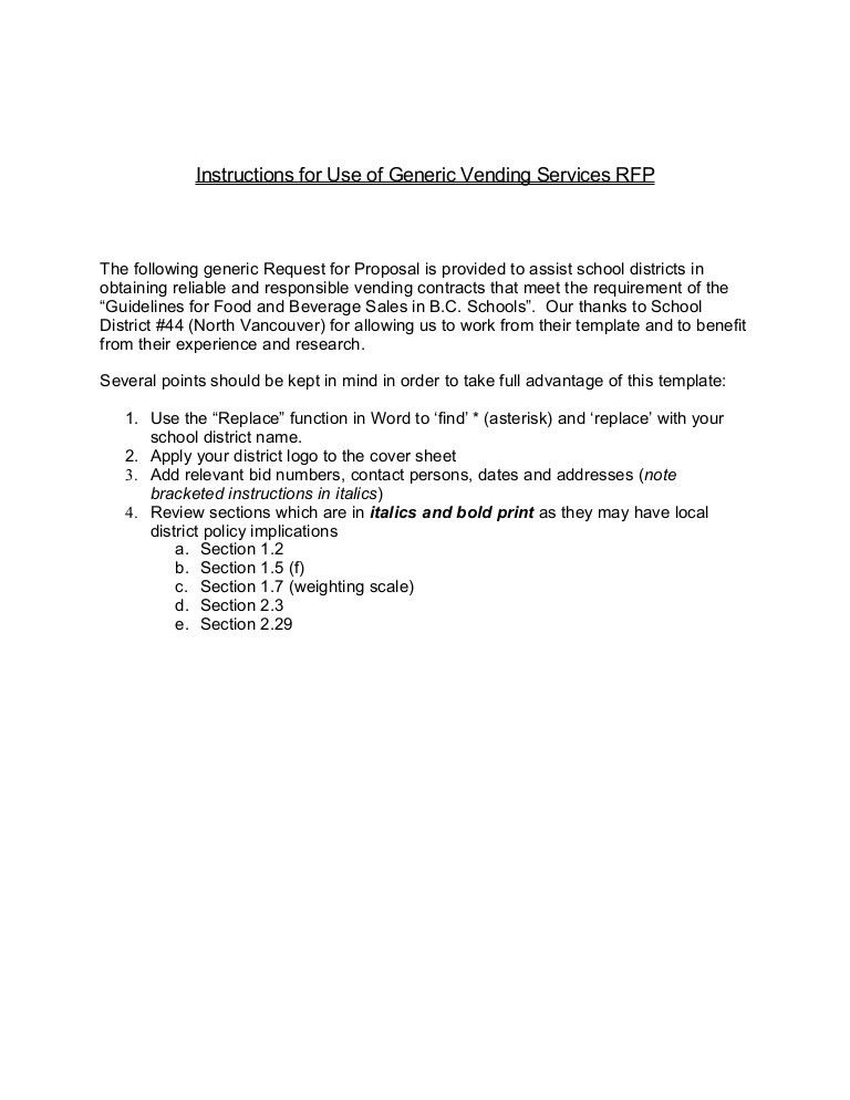 Generic Request for Proposal for Vending Contracts