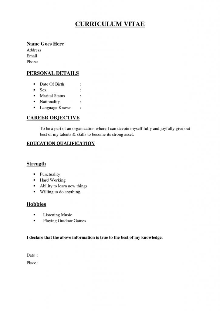 Download Simple Sample Resume | haadyaooverbayresort.com