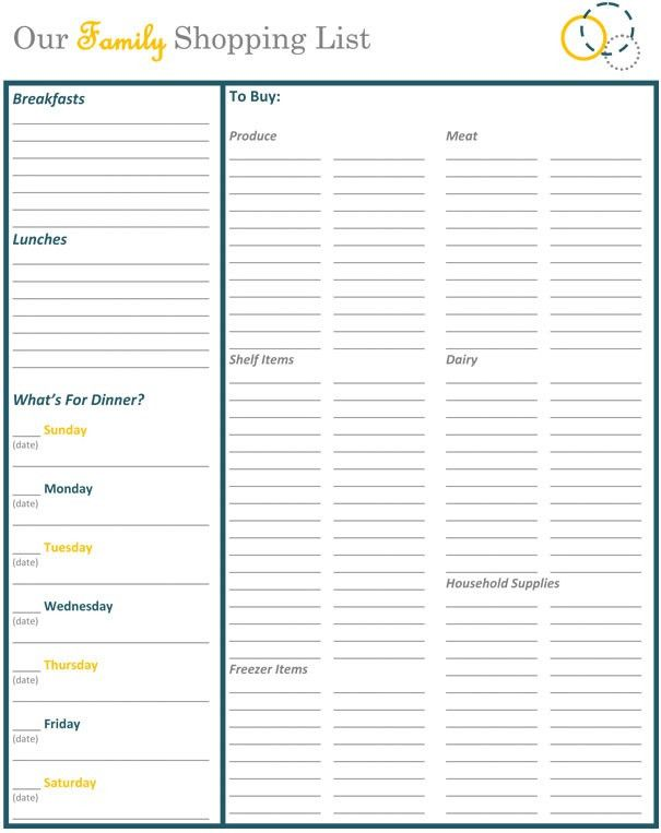 Grocery Store Shopping List | grocery list template
