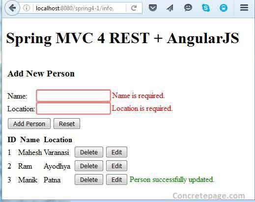 MVC 4 REST + AngularJS + Hibernate 4 Integration CRUD Tutorial ...
