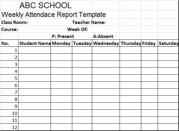 School Weekly Attendance Report Template – Free Report Templates