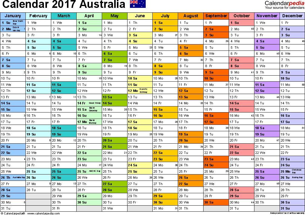 Australia Calendar 2017 - free printable Excel templates