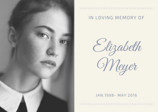 Grayscale Photo Obituary Card - Templates by Canva