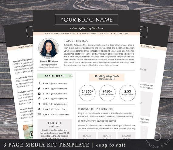 Media Kit Template The Modern Darling Mac or PC Word and