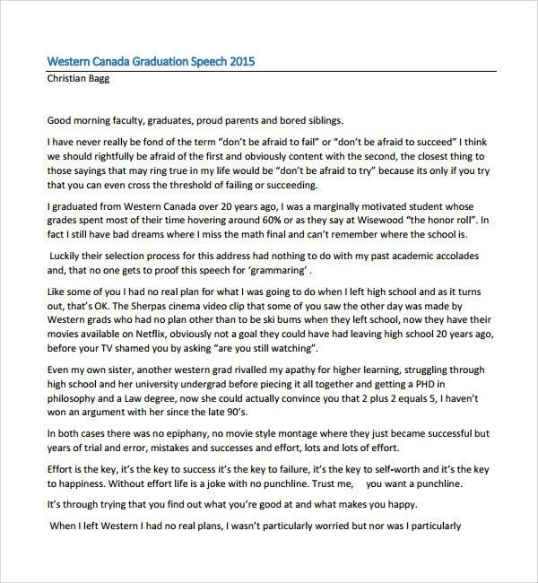 Sample Graduation Speech Example Template   10+ Free Documents In .