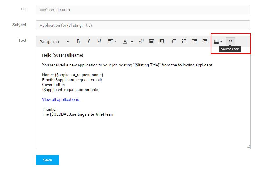 Editing Email Templates | Smartjobboard User Manual