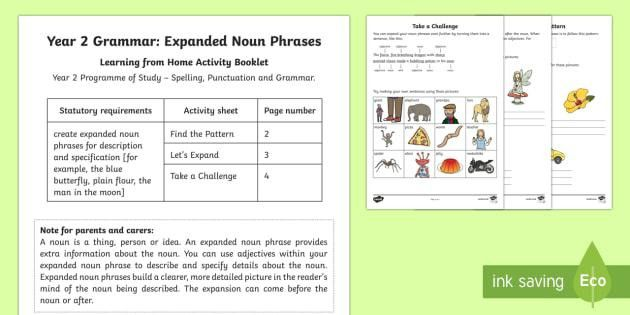 Year 2 Grammar: Expanded Noun Phrases Activity Booklet - Year 2