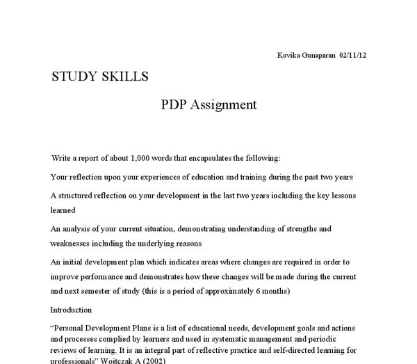 The primary purpose of this assignment is to develop a personal ...