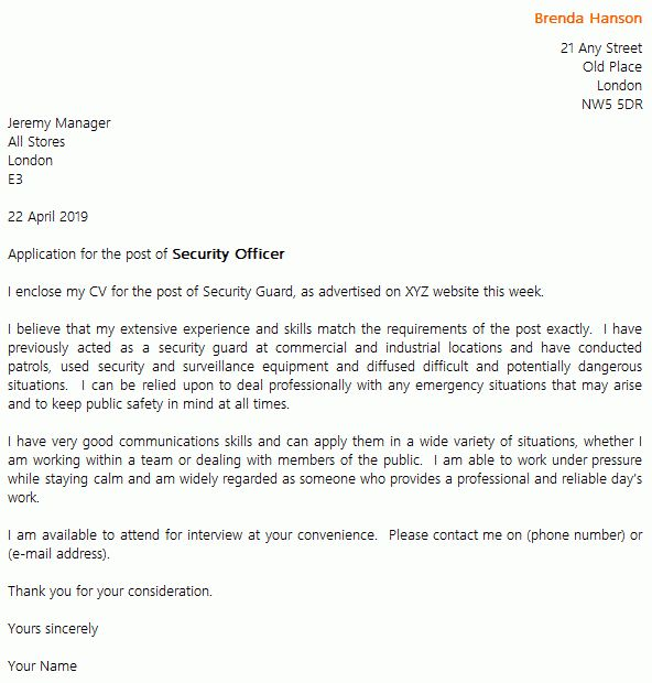 Security Guard Cover Letter Example - icover.org.uk